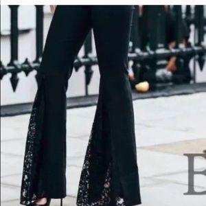Zara black lace flare pants